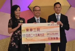 圖四為民政事務局局長劉江華太平紳士(中) 在東華三院馬陳家歡主席(左)的陪同下,代表東華三院接受花旗集團,所捐贈的五百二十五萬元捐款支票。