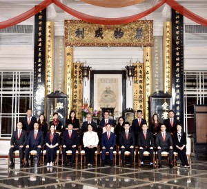 Photo 3: A Group photo of 2019/2020 Board Members including Dr. TSOI Wing Sing, Ken, the Chairman (front row, right 5) , Ms. Ginny MAN, the 1st Vice-Chairman (front row, left 5), Mr. TAM Chun Kwok, Kazaf, the 2nd Vice-Chairman (front row, right 4), Mr. MA Ching Yeung, Philip, the 3rd Vice-Chairman (front row, left 4), Mr. WAI Ho Man, Herman, the 4th Vice-Chairman (front row, right 3), Ms. TANG Ming Wai, Mandy the 5th Vice-Chairman (front row, left 3), as well as Mr. HO Yau Kai, Orlando (front row, right 2), Mr. Derrick FUNG (front row, left 2), Ms. YAN Zi (front row, right 1), Mr. MO Yu Fung, Billy (front row, left 1), Mr. LEE Chak Hol, Michael (back row, right 5), Mr. TSENG Hing Fai, Felix, (back row, left 5), Mrs. CHEN YAO Li Ni, Lily (back row, right 4), Ms. LUK Ching, Sanna, (back row, left 4), Mr. LIU Chun Fai, Kenneth, (back row, right 3), Ms. TANG Wai Man, Vivian (back row, left 3), Mrs. NG CHENG Tsz Ting, Emmi (back row, right 2), Mrs. Natalie CHAN CHU (back row, left 2), Dr. CHUANG Tze Cheung, Christopher (back row, right 1) and Mr. LEE Ching Yiu (back row, left 1), the Directors.