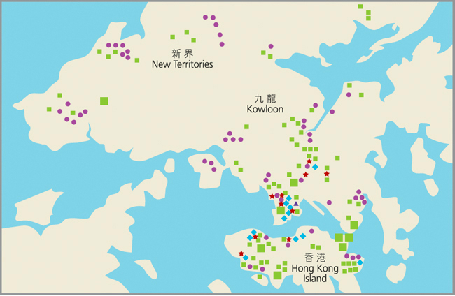 Map of Tung Wah's Service Centres