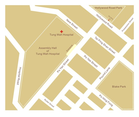 Map to the Assembly Hall of Tung Wah Hospital