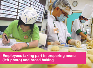 Employees in preparing menu (left photo) and bread baking