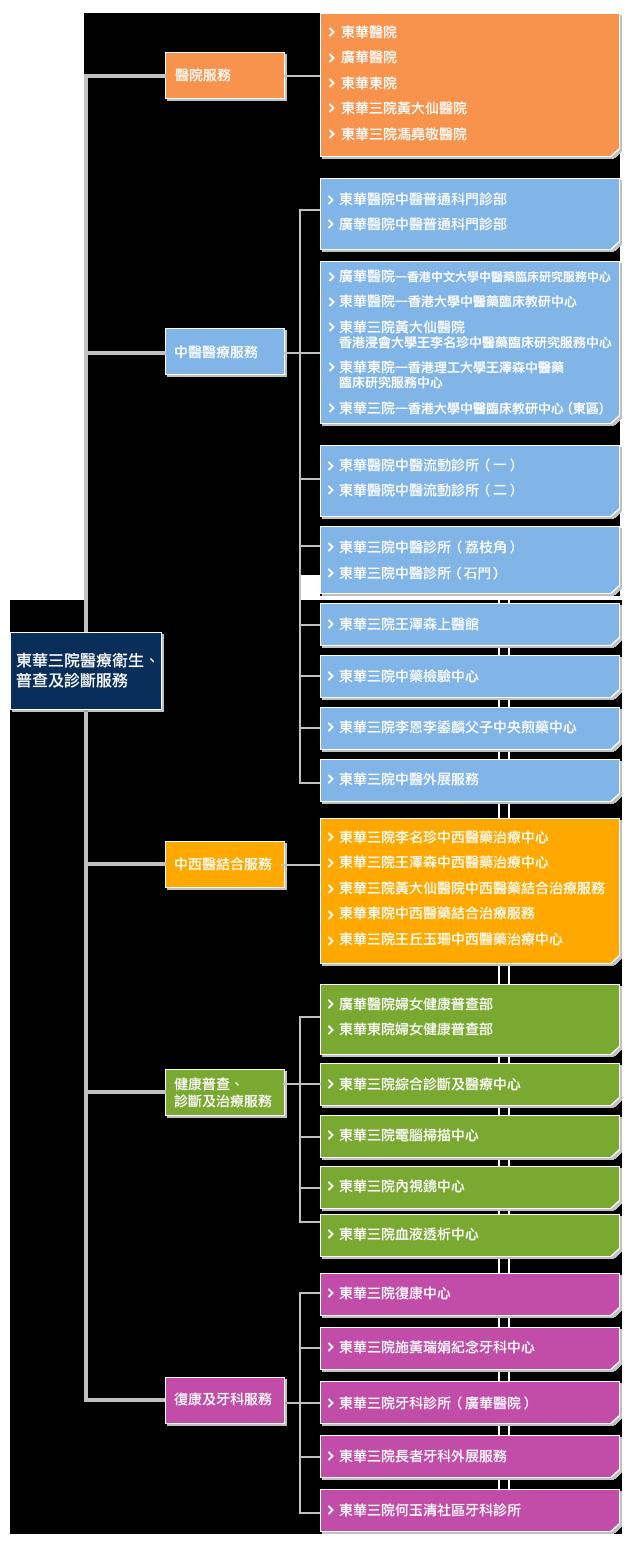東華三院醫療服務之服務架構圖
