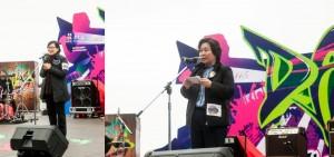 民政事務局副局長許曉暉SBS太平紳士(左)及東華三院主席何超蕸小姐(右)致辭。