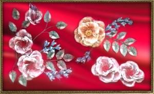 銀紙畫「花團錦簇善滿園」