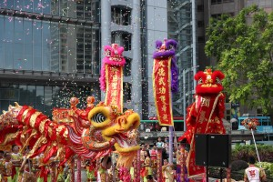 Golden dragon performance and Lion Dance