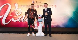 勞工及福利局副局長徐英偉太平紳士(右)及東華三院主席李鋈麟博士太平紳士(左)主持起動禮。