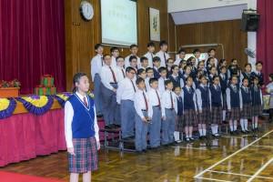 學生於東華三院邱子田紀念中學35周年校慶典禮上表演。
