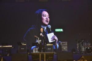 圖四為藝人李珊珊到場分享及呼籲大眾支持東華三院屬下的慈善服務。