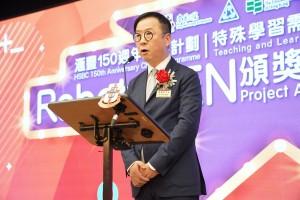圖一:東華三院主席兼名譽校監蔡榮星博士祝願本港特殊學校在未來歲月能繼續承傳創新,繼往開來,惠及更多有需要的學童。