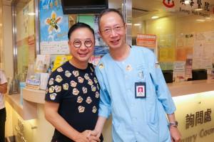圖二為東華三院主席蔡榮星博士(左)到廣華醫院,感謝醫護人員落力勸捐。