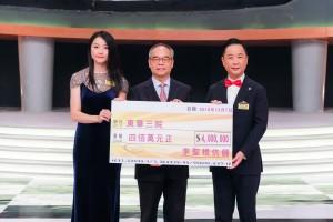 圖五為民政事務局局長劉江華太平紳士(中)在東華三院蔡榮星主席(右)的陪同下,代表東華三院接受李聖根伉儷所捐贈的四百萬元捐款支票。