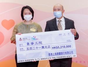 圖六為東華三院文頴怡主席(左)代表東華三院接受滙豐亞太區企業可持續發展部未來 技能總監招智輝先生(右)代表香港上海滙豐銀行有限公司所捐贈的五百二十一萬元捐 款支票。